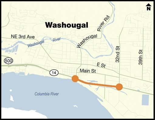 The city of Washougal has selected a landscaping design for the 15th Street/Washougal River Road roundabout that will be constructed with WSDOT's SR 14 Access Improvements Project. Graphic courtesy of city of Washougal