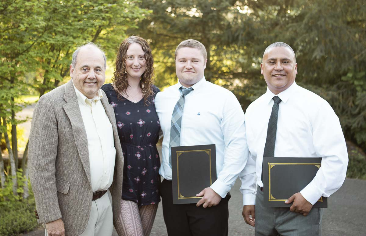 Members of Team Self are shown here (from left) Jack Bothwell (mentor), Richelle McMann (client), Garrett Behrman, Gerardo Guevara. Photo courtesy of WSU Vancouver