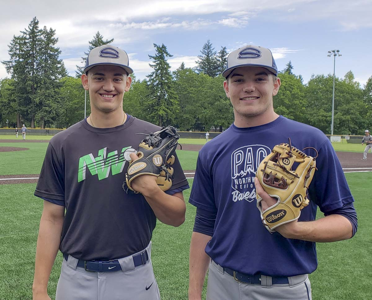 Ryan Pitts (left) and Cooper Barnum pitched back-to-back 1-0 shutouts the Class 4A state baseball playoffs, helping Skyview reach the final four for the third consecutive season. Photo by Paul Valencia