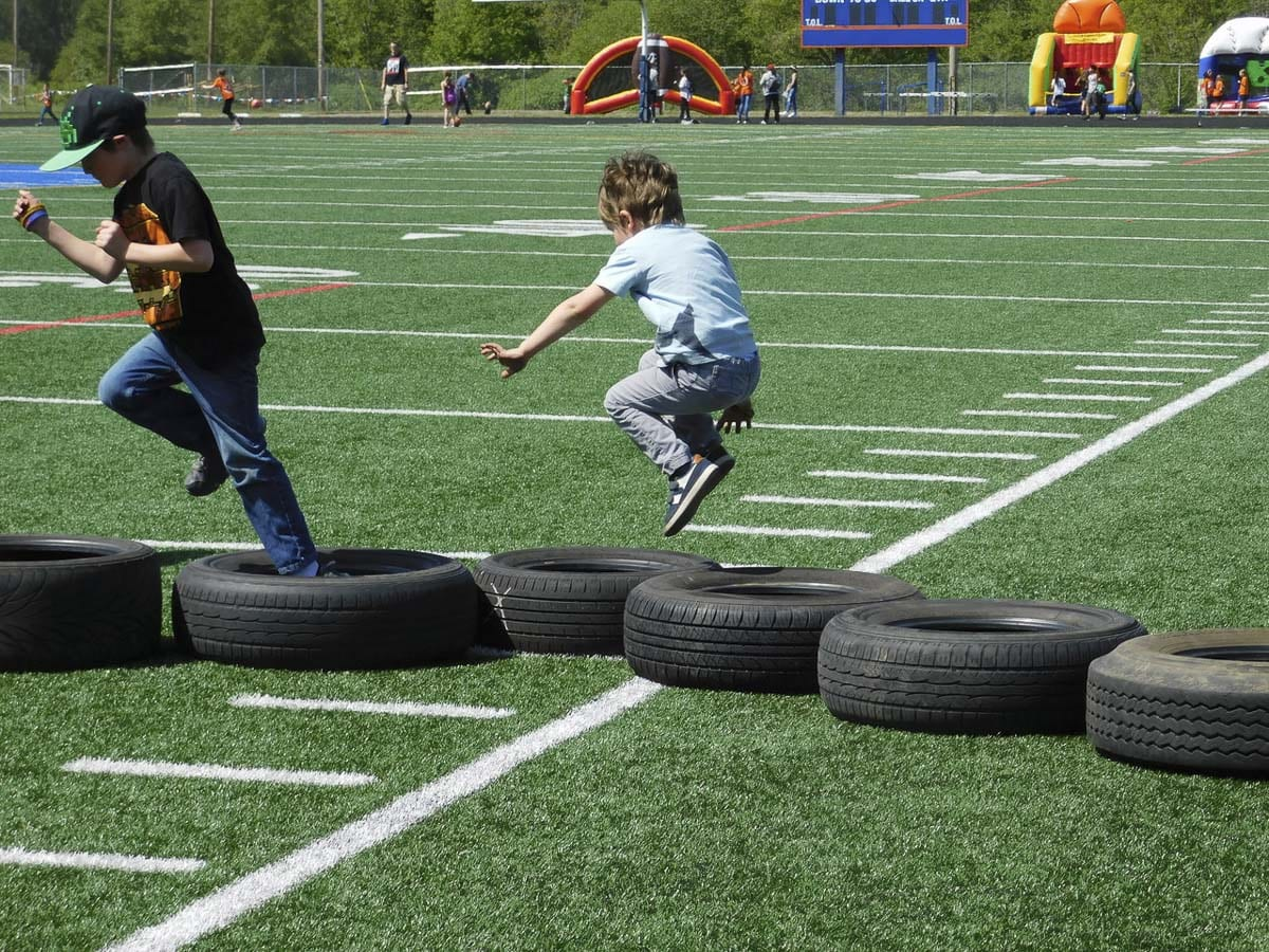 East Ridgefield Crossfit set up a fun obstacle course as part of South Ridge Elementary's Sport-A-Thon fundraiser. Photo courtesy of Ridgefield School District