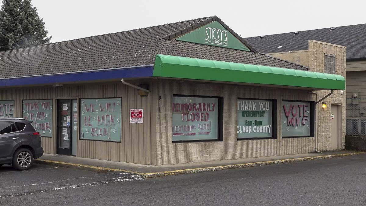 Sticky's Pot Shop on Highway 99 in Hazel Dell could re-open if the Clark County Council lifts a 2012 moratorium on marijuana-related businesses. Photo by Mike Schultz