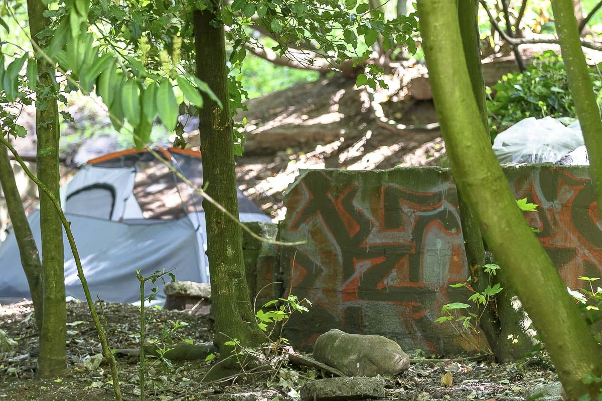 A homeless camp in a wooded area along Grand Boulevard. Photo by Mike Schultz