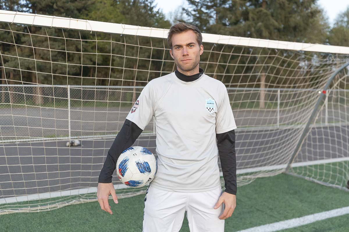 Tyler Luebbert played at Clark College and then Southern Oregon University. Today, he plays for Vancouver Victory FC, in a league for college-age and post-college players to hone their skills in the spring and summer. Photo by Mike Schultz