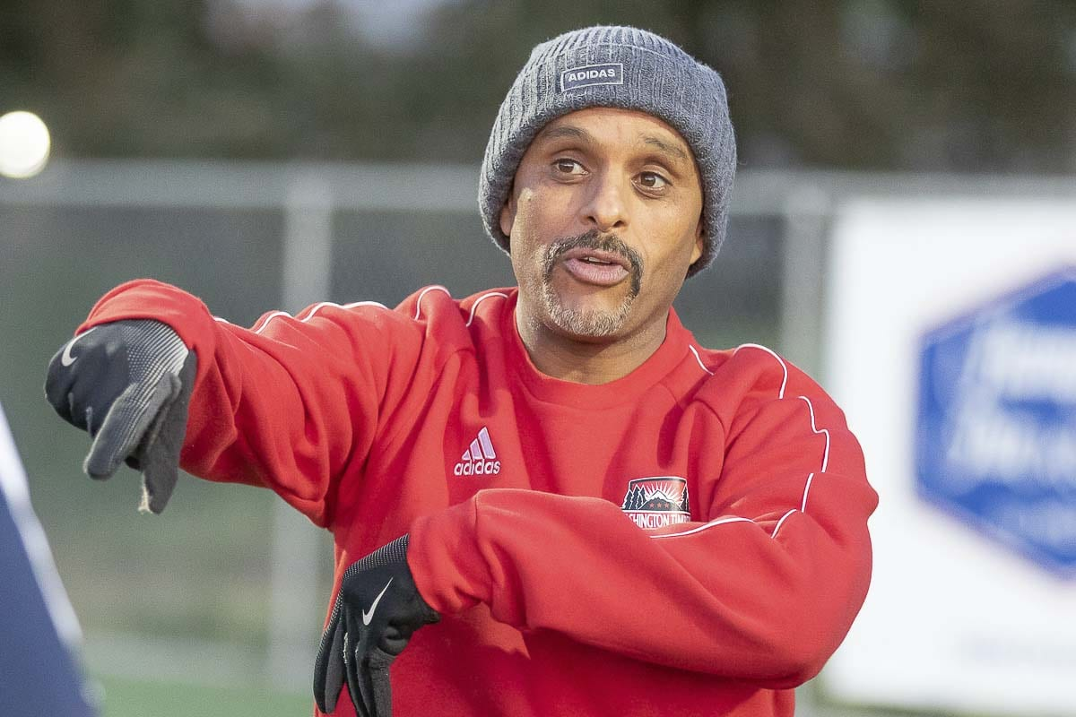 Biniam Afenegus is a co-coach (along with Stan Rodriguez) with the Vancouver Victory. Afenegus said he likes giving back to the soccer community, and he appreciates having an club for college-age (and beyond) athletes to play this game at a high level. Photo by Mike Schultz