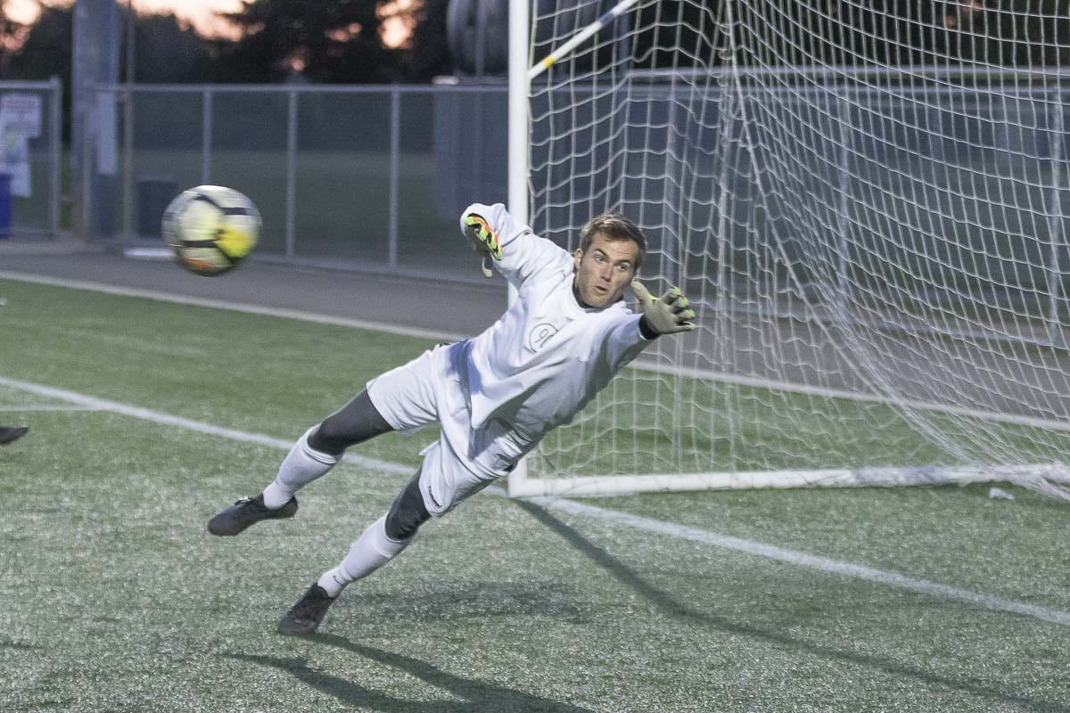 Tyler Luebbert, a goalkeeper for the Vancouver Victory, is a former college athlete who wants to keep playing competitive soccer. Photo by Mike Schultz