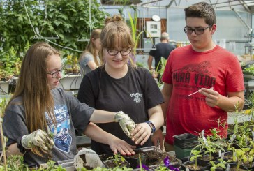 Woodland Middle School horticulture students learn how to research plants