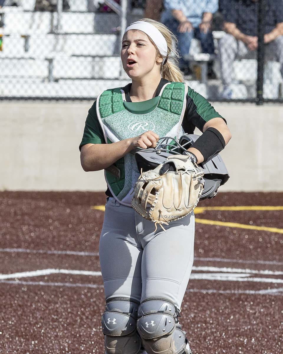 """Woodland's Justice Holcomb made a decision earlier in her career not to pursue softball beyond high school. That means she has two days left of her softball career, and she hopes to """"go out with a bang"""" at the state tournament. Photo by Mike Schultz"""