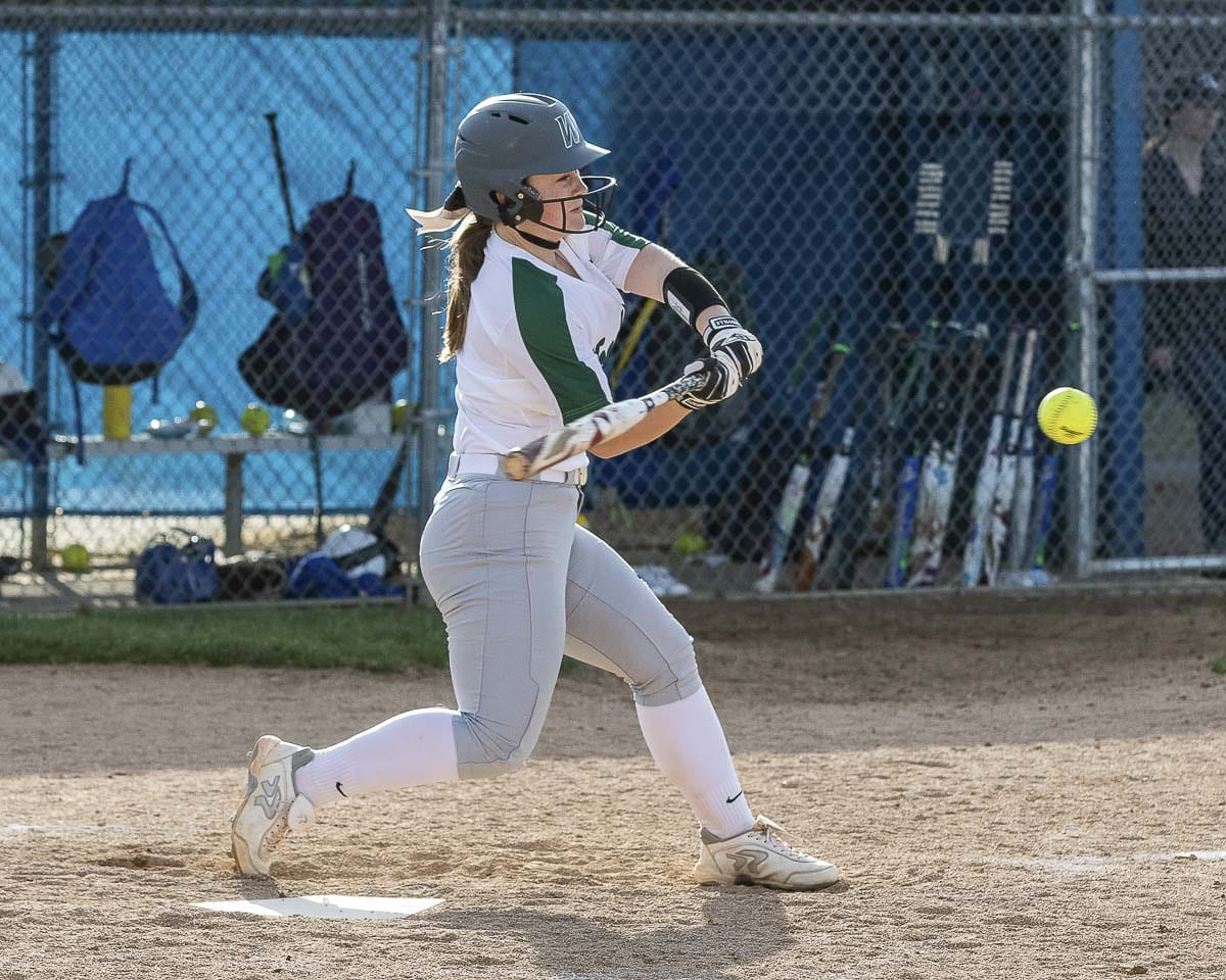 Woodland's Kaily Christensen, shown here earlier this season, hit a two-run home run Saturday in the state championship game. Woodland won 3-0. Photo by Mike Schultz