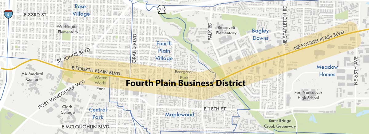 This map shows Vancouver's Fourth Plain Business District. Map courtesy of city of Vancouver
