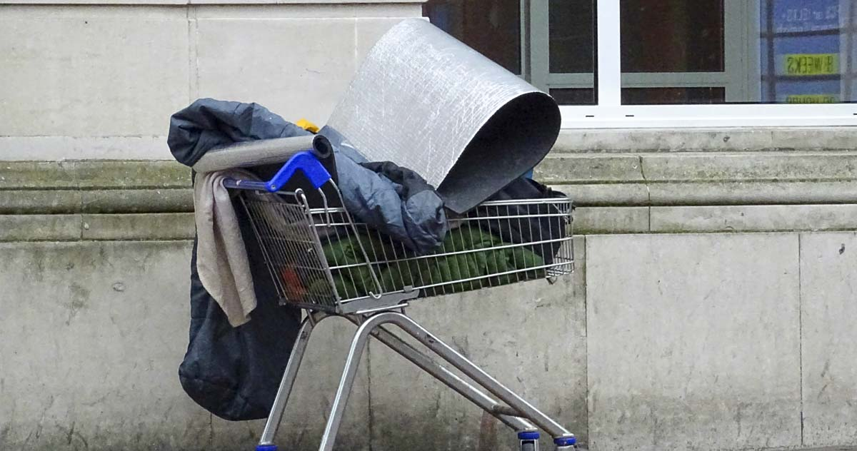A shopping cart with possessions outside a day center in downtown Vancouver. File photo