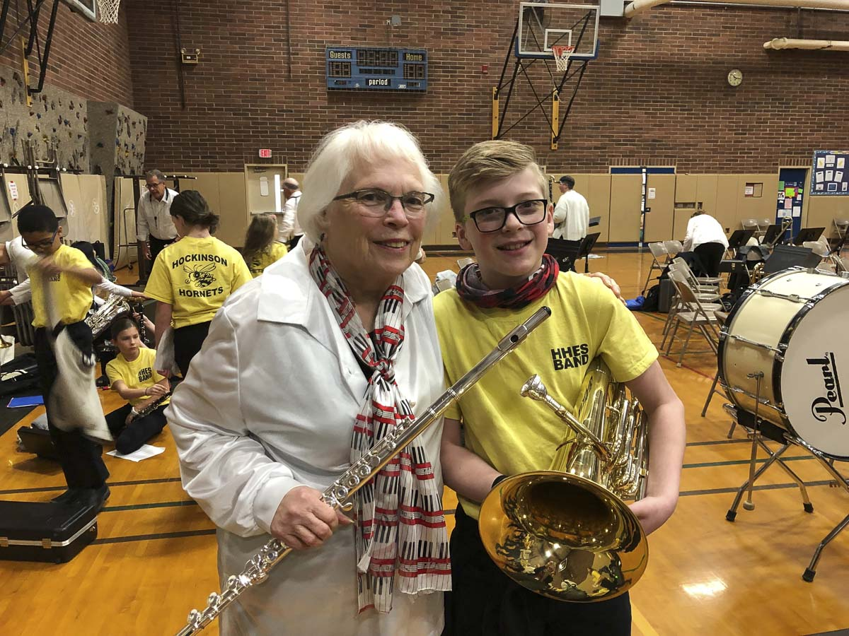 Vancouver Pops flutist Normalee Enevoldsen is shown here with her great-grandson, a new baritone player at Hockinson Heights Elementary School. Photo courtesy of Hockinson School District