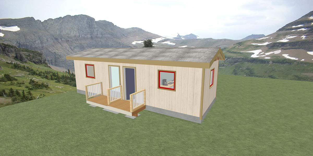 Shown here is a 3D rendering of what the micro-homes in Veterans Village will likely look like. Photo courtesy of Ron Fryer