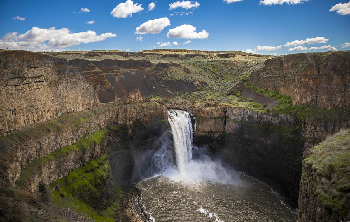 Palouse Falls as seen from the state park viewing area. The water flow is just above standard as of now, and flows year-round. Photo by Jacob Granneman