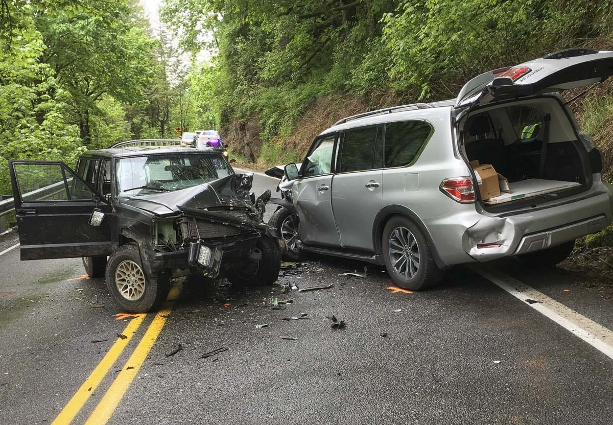 Tuesday morning, Clark County EMS and Clark County Sheriff's Office deputies responded to a three-vehicle head-on collision at milepost 3 on Washougal River Road. Photo courtesy of Clark County Sheriff's Office