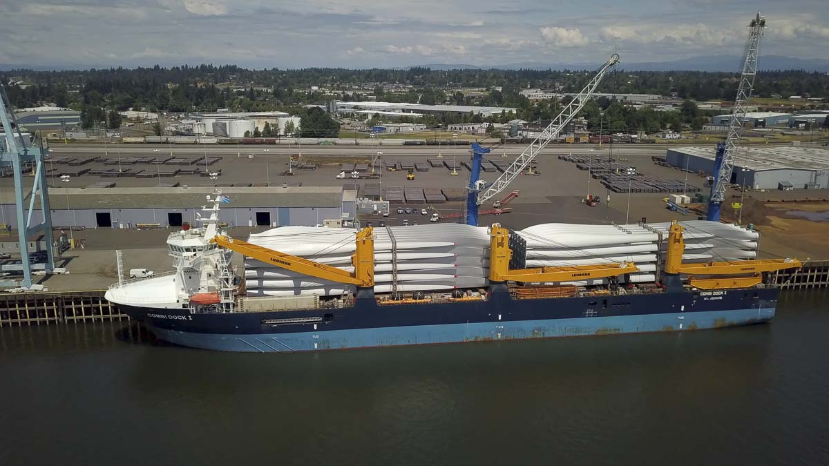 The vessel Combi Dock I at the Port of Vancouver USA's terminal 2 during the unloading of nearly 200 wind turbine blades in history. Courtesy of the Port of Vancouver USA