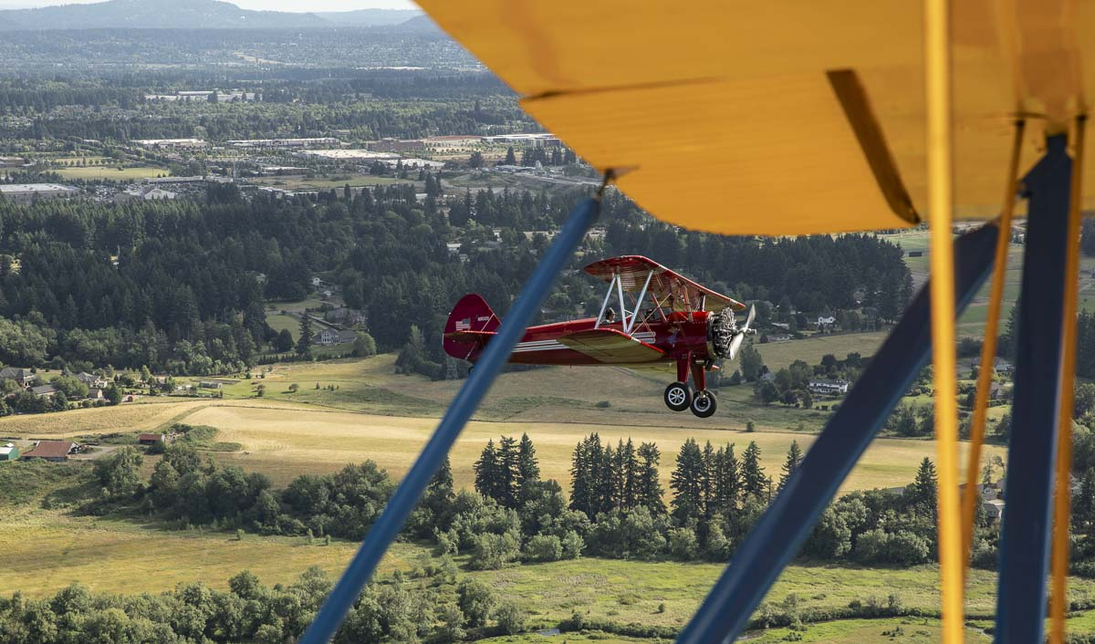 A view from one of the bi-planes that celebrated Heroes Night on Saturday. Photo by Jacob Granneman