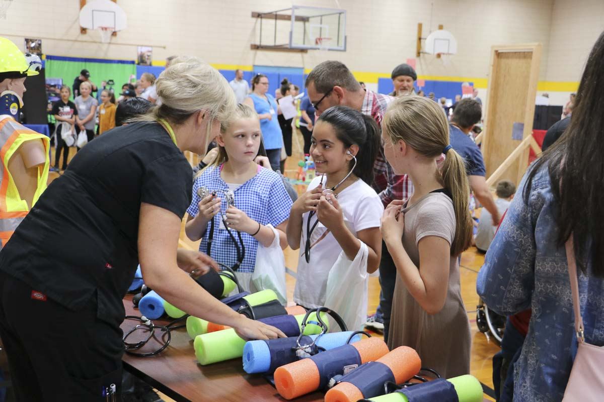 Battle Ground fourth graders explore nursing at the district's first Career Exploration Fair. Photo courtesy of Battle Ground School District