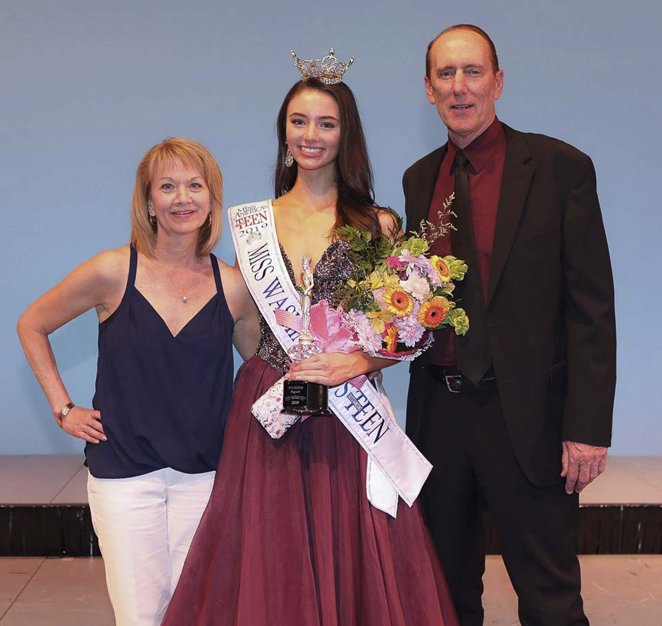 "Miss Washington's Outstanding Teen Payton May (center) is shown here with her parents, Debra (left) and Tom May (right). Payton said her parents are her biggest influence. ""My parents for sure; they are by far the most supportive people in my life, and I would be lost without their immense guidance and love. I feel so grateful to have people in my life that support any endeavor I set my mind to, and I wouldn't be who I am without them.'' Photo courtesy of Sheri Rainey Backous"