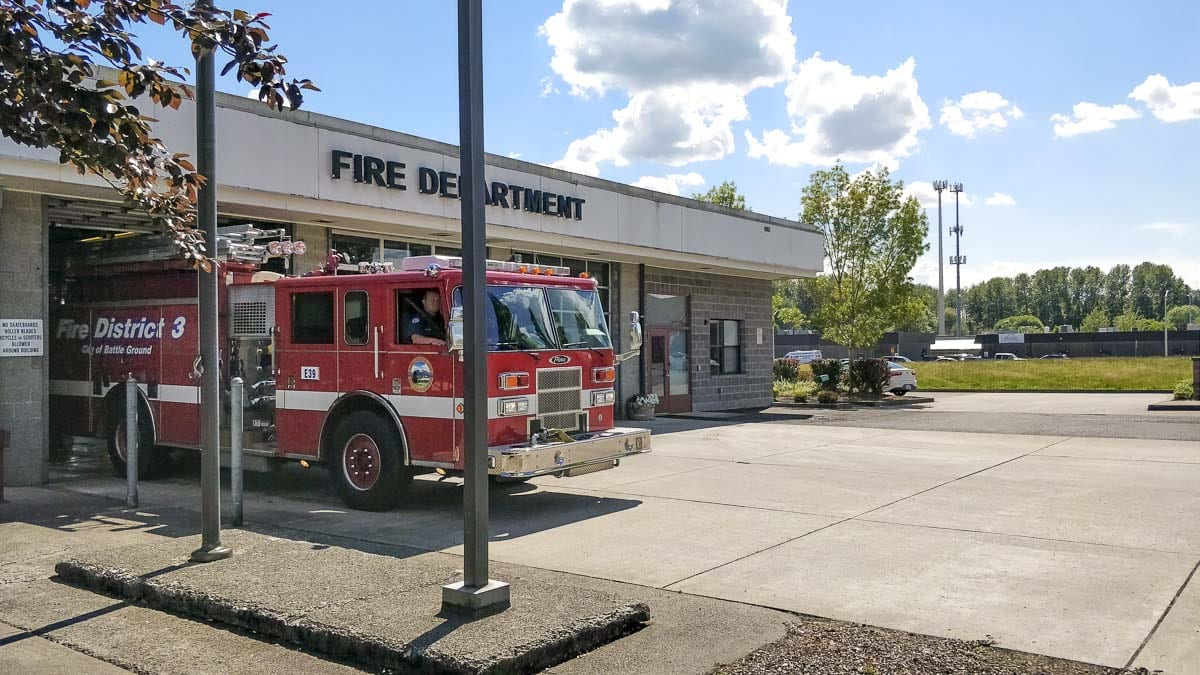 A Clark County Fire District 3 fire engine pulls out of the fire station in Battle Ground. Photo by Chris Brown