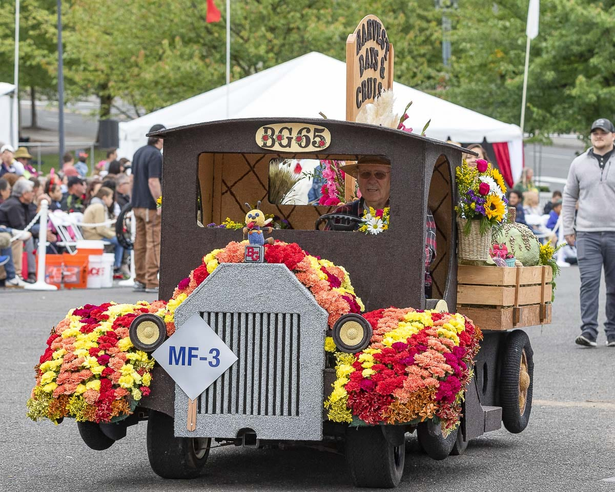 The Battle Ground Rose Float was given the Parade Chairman Award in the 2019 Grand Floral Parade. Photo by Mike Schultz