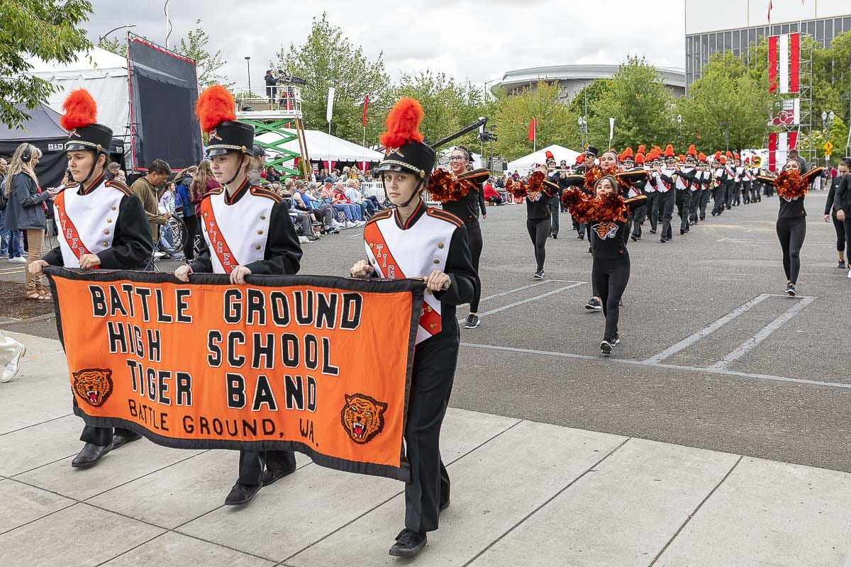 The Battle Ground High School Marching Band was awarded first place in the Out-of-State Division for bands of 99 members or less at the 2019 Grand Floral Parade, held Saturday. Photo by Mike Schultz
