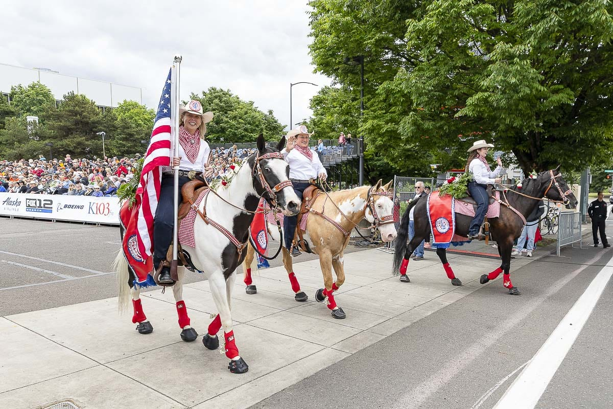 Members of the Clark County Fair Mounted Patrol participated in the 2019 Grand Floral Parade Saturday. Photo by Mike Schultz