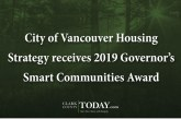 City of Vancouver Housing Strategy receives 2019 Governor's Smart Communities Award