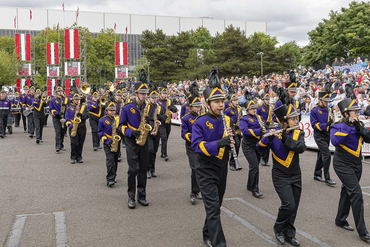 The Columbia River High School Marching Band was awarded second place in the Out-of-State Division for bands of 99 members or less at the 2019 Grand Floral Parade. Photo by Mike Schultz
