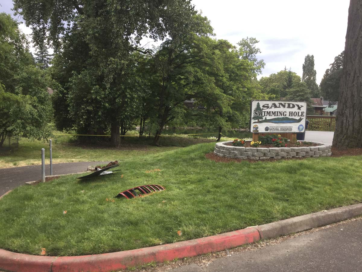 Debris left behind after a Jeep Grand Cherokee tore through Sandy Swimming Hole Park in Washougal, killing two people. Photo courtesy Washougal Police
