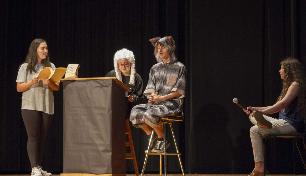 ''Big Bad'' depicts the trial of The Big Bad Wolf complete with an absent-minded judge, wry attorneys, and an on-the-scene news reporter. Photo courtesy of Woodland School District