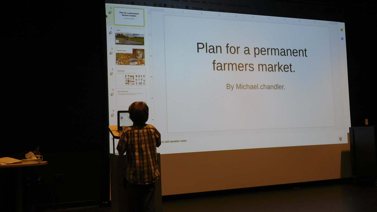Ridgefield fifth-grader, Michael Chandler, presents his plan to create a permanent farmers' market in Ridgefield. Photo courtesy of Ridgefield School District