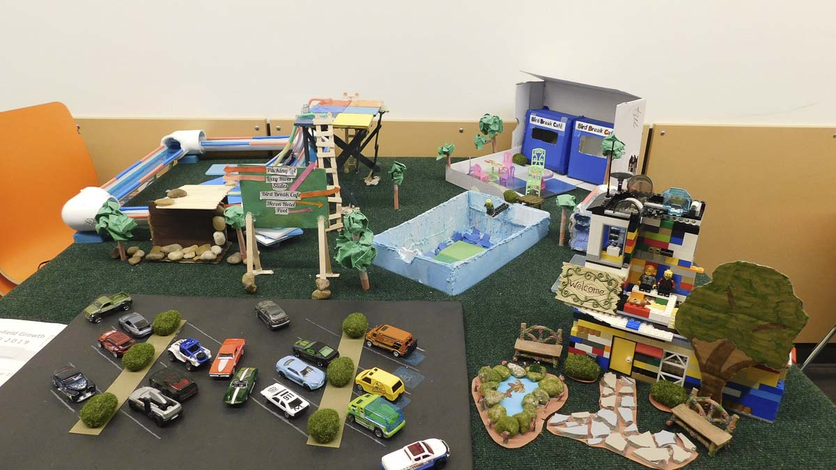 A detailed model built by Ridgefield fifth-graders for a proposed Blue Heron Water Park. Photo courtesy of Ridgefield School District