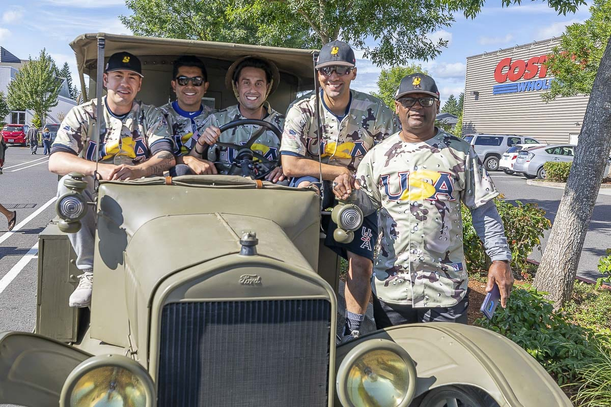 Members of the U.S. Military All-Stars, a baseball team featuring active duty servicemembers and first responders, enjoyed their visit to Heroes Night on Saturday. The baseball team begins its summer tour across the country with games in Clark County this week and next. Photo by Mike Schultz