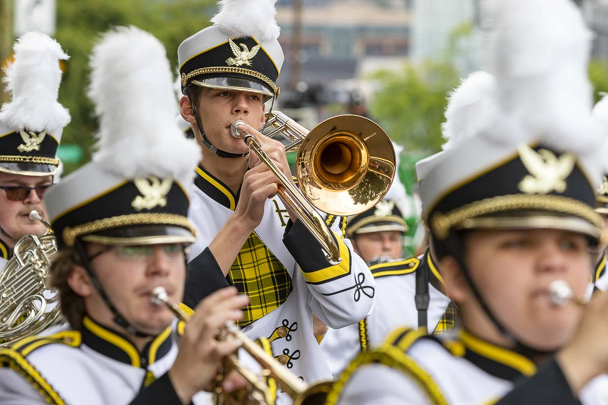 The Hudson's Bay High School was one of four high school marching bands to participate in Saturday's Grand Floral Parade in Portland. Photo by Mike Schultz