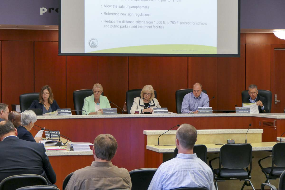 Clark County Council holds a work session on the possibility of overturning the county's 2014 ban on marijuana-related businesses in the unincorporated areas. Photo by Chris Brown