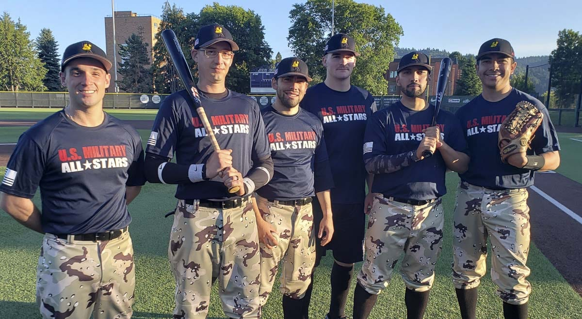 From left to right, Joe Morris (Navy), Ross Kalins (Army), Jordan Falcon (Air Force), David Haun (Marines), Brandon Perez (first responder), and Tim Duncan (Coast Guard) represent all areas of service on the U.S. Military All-Star baseball team. The squad will be playing in Clark County this week and next week. Photo by Paul Valencia