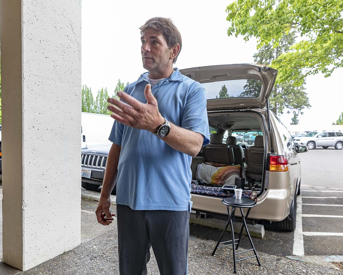 Danny Hessick says the day center at the Vancouver Navigation Center gives him a place to feel safe and find help with getting into permanent housing. Photo by Mike Schultz