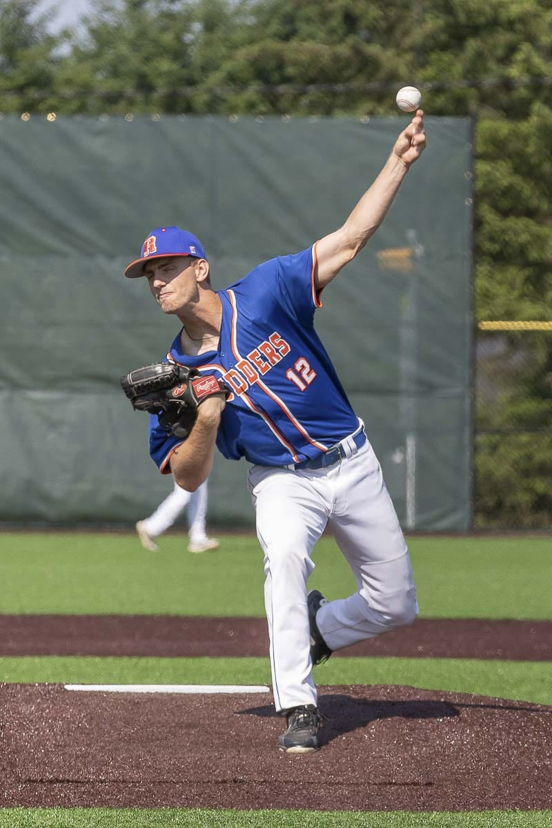 Spencer Andersen will graduate with his class at Ridgefield on Friday but he will be in uniform tonight with the Ridgefield Raptors. The new team in the West Coast League holds its home opener. Photo by Mike Schultz