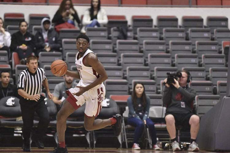 Robert Franks Jr., shown here as a junior at Washington State, finished his career with the Cougars with back-to-back phenomenal seasons. He is expected to sign a two-way contract with the NBA's Charlotte Hornets soon. Photo courtesy of Washington State University