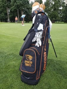 Spencer Tibbits of Vancouver says he will proudly display this Oregon State bag when he plays in his first major next week. Tibbits, a sophomore at OSU, qualified for the U.S. Open. Photo by Paul Valencia