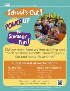 Children and teens ages 1-18 can enjoy a free lunch in Battle Ground this summer through the Simplified Summer Food Program for children. The program addresses the need for nutritious meals during the summer months when school is not in session.