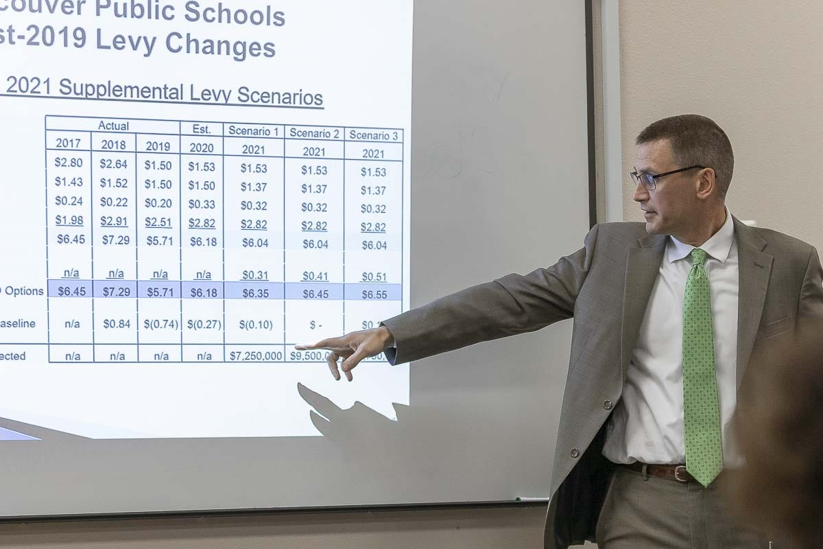 Vancouver Public School CFO Brett Blechschmidt outlines the options for a possible supplemental Education and Operations levy under state rules lifting the local levy lid. Photo by Mike Schultz