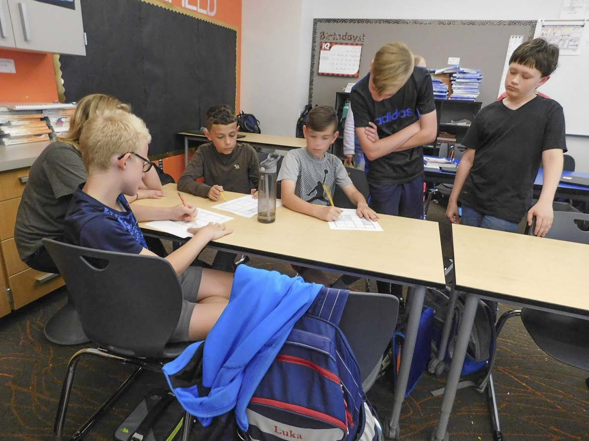 Students in Anja Felton's WIN Time class at Sunset Ridge Intermediate School work on a problem together. Photo courtesy of Ridgefield School District