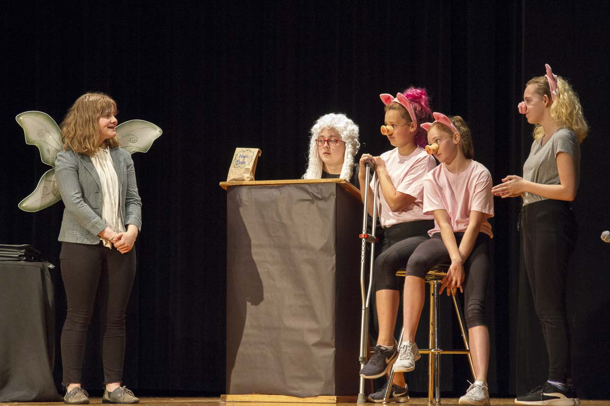 """Big Bad'' features characters from a variety of fairy tales including Little Red Riding Hood, The Three Little Pigs, The Boy Who Cried Wolf and others. Photo courtesy of Woodland School District"