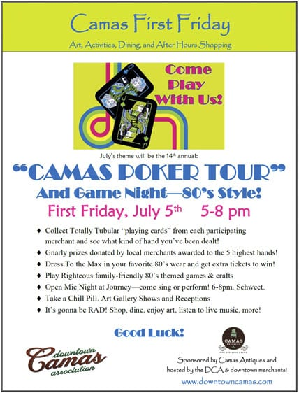 Camas Poker Tour takes on the 80's at First Friday in Downtown Camas