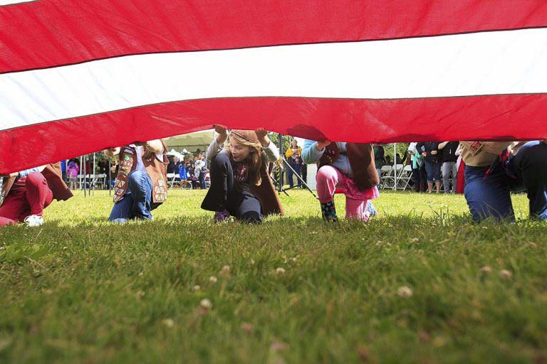 The Flag Day ceremony will include a presentation of the colors, raising of the Garrison flag (the largest size American flag used by the army) by the National Parks Service, the annual Clark County Mayors' Patriotic tie contest, and a new Patriotic Pie competition. Photo courtesy of The Historic Trust