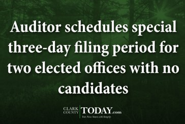 Auditor schedules special three-day filing period for two elected offices with no candidates