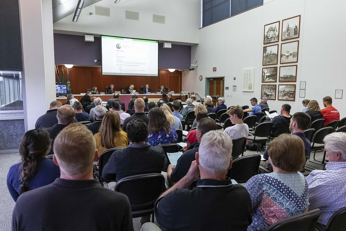 A packed house was on hand for the Clark County Council meeting Tuesday evening as the councilors voted to overturn a 2014 ban on marijuana businesses. Photo by Mike Schultz