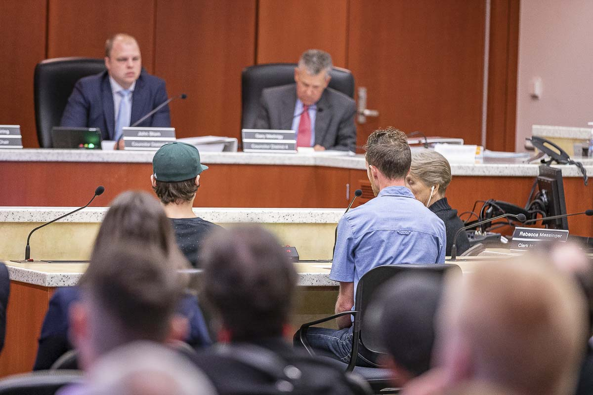 Members of the public testify about a move to overturn the ban on marijuana sales and production in the unincorporated areas of Clark County. Photo by Mike Schultz