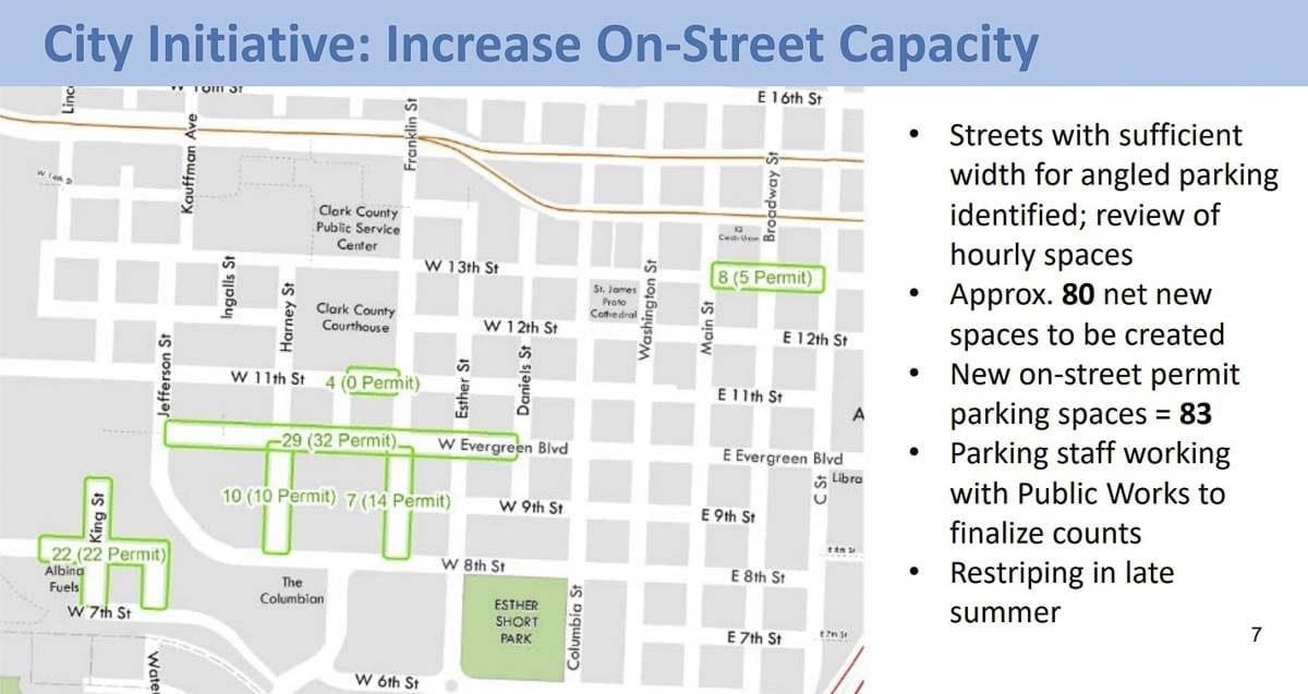 A map outlining which streets in Vancouver will be re-striped to introduce angled parking. Image courtesy city of Vancouver